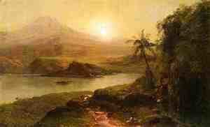 Frederic Edwin Church - Mountain Landscape with River, Near Philadelphia