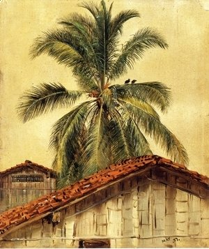 Frederic Edwin Church - Palm Trees and Housetops, Ecuador