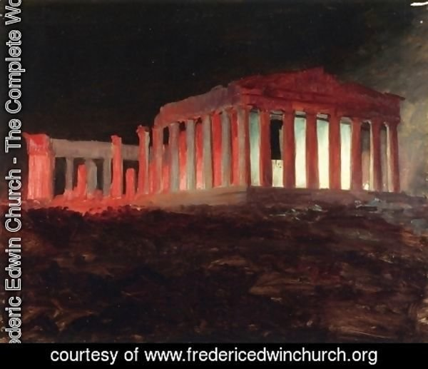 Frederic Edwin Church - Parthenon, Athens, from the Northwest (Illuminated Night View)