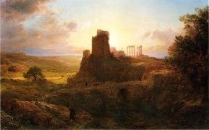 Frederic Edwin Church - The Ruins at Sunion, Greece