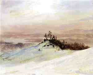 Frederic Edwin Church - Winter on the Hudson River Near Catskill, New York
