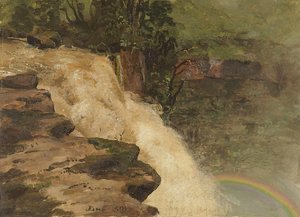Frederic Edwin Church - A Waterfall in Colombia
