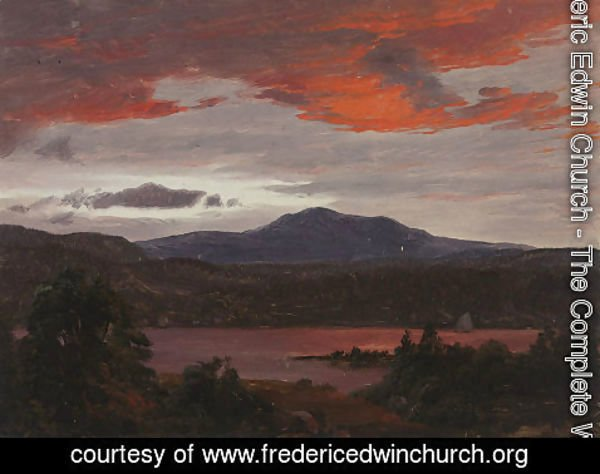 Frederic Edwin Church - Turner Pond with Pomola Peak and Baxter Peak, Maine