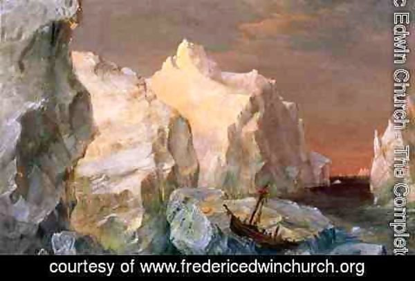 Frederic Edwin Church - Icebergs And Wreck In Sunset
