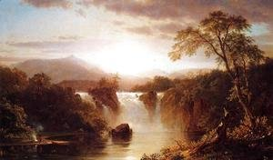 Frederic Edwin Church - Landscape With Waterfall