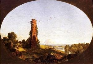 Frederic Edwin Church - New England Landscape With Ruined Chimney